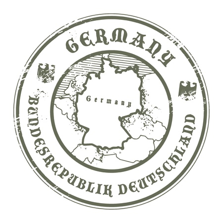 Grunge rubber stamp with the name and map of Germany