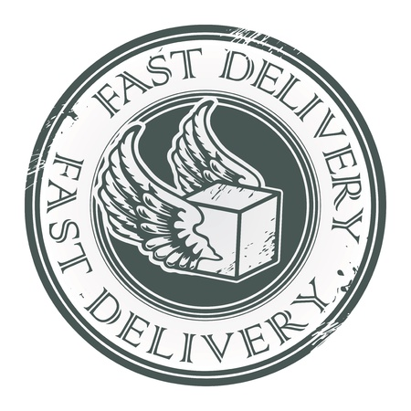 Illustration pour Grunge rubber stamp with wings and the text Fast Delivery written inside - image libre de droit