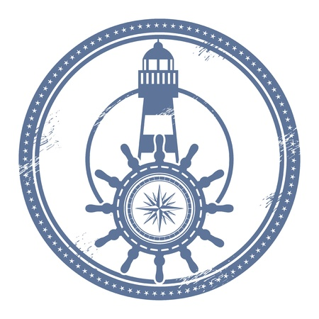 Grunge stamp with lighthouse and space for text
