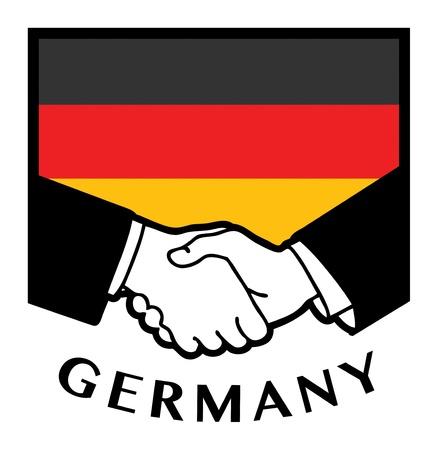 Germany flag and business handshake