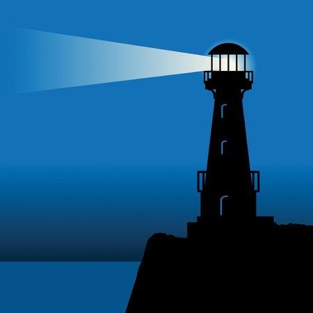Lighthouse silhouette at night