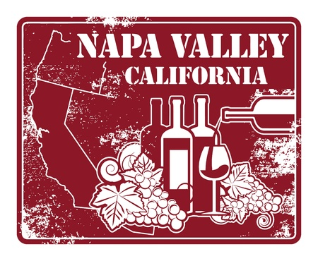 Illustration pour Grunge rubber stamp with words California, Napa Valley - image libre de droit