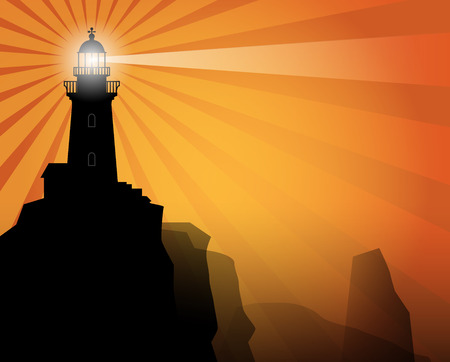 Lighthouse silhouette on abstract background