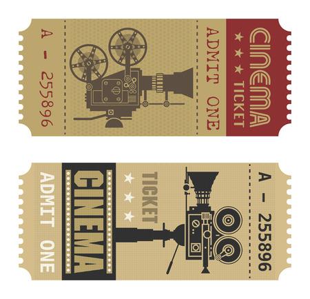 Illustration for Retro cinema ticket - Royalty Free Image