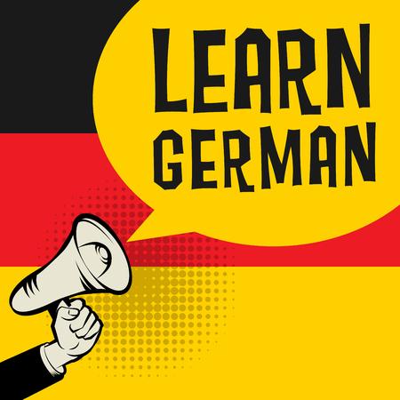Illustration pour Megaphone Hand, business concept with text Learn German, vector illustration - image libre de droit