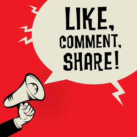 Illustration pour Megaphone Hand, business concept with text Like, Comment, Share, vector illustration - image libre de droit