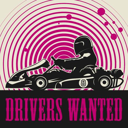 Ilustración de Karting Go Cart race poster, vector illustration - Imagen libre de derechos