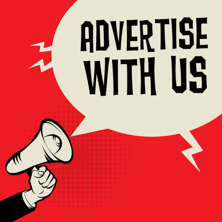 Illustration pour Megaphone Hand, business concept with text Advertise with us, vector illustration - image libre de droit