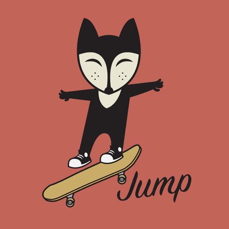 Fox riding a skateboard. Happy skateboarding. Young skater riding a skateboard. Sports jumping with skateboard. Vector illustration