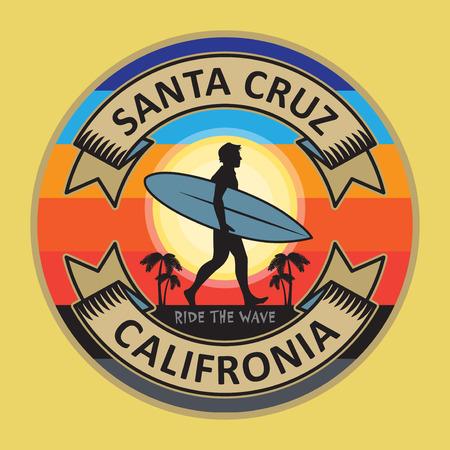 Illustration for Abstract surfer stamp or sign text Santa Cruz, California, vector illustration - Royalty Free Image