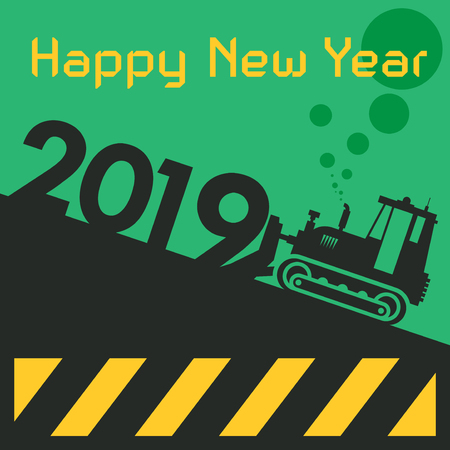 Illustration for Happy New Year greeting card - tractor bulldozer at work vector illustration - Royalty Free Image