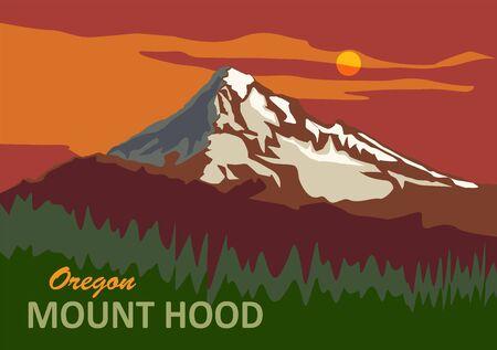 Illustration pour Mount Hood in Oregon, United States - image libre de droit