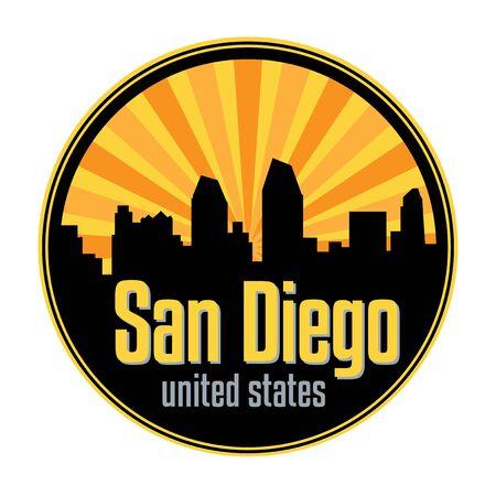 Illustration for Badge, label or stamp with San Diego skyline, vector illustration - Royalty Free Image