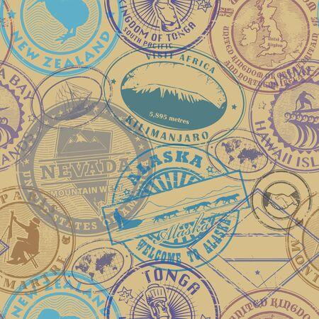 Illustration pour Passport stamps background - set seamless pattern, vector illustration - image libre de droit