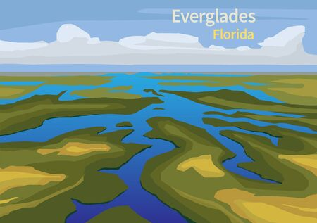 Illustration pour Landscape of Everglades saw grass, water, and clouds in Everglades National Park, Florida, United States, vector illustration - image libre de droit