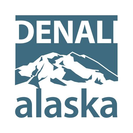 Illustration pour Mount Denali is the highest mountain peak in North America, located in Alaska - climbing, trekking, hiking, mountaineering and other extreme activities template, vector - image libre de droit