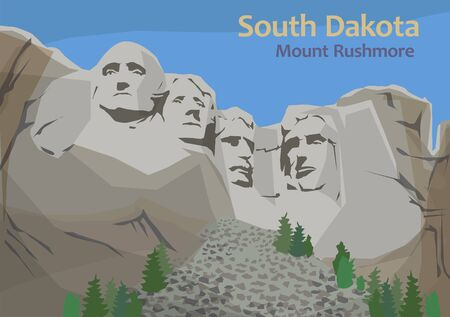 Illustration pour Mount Rushmore National Memorial, sculpture carved into the granite face of Mount Rushmore in the Black Hills in Keystone, South Dakota, United States, vector illustration - image libre de droit