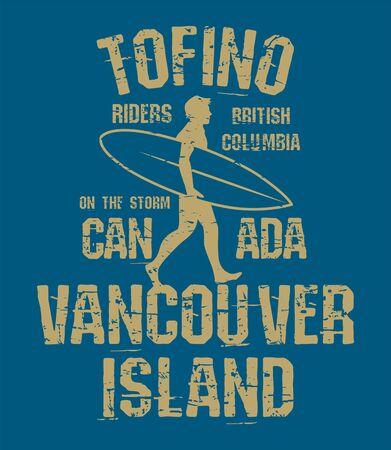 Illustration pour Tofino, British Columbia - surfer sticker, stamp or t-shirt design, vector illustration - image libre de droit