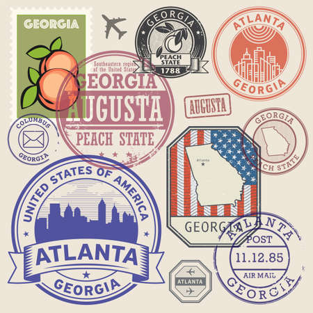 Illustration pour Stamps or labels set with the name and map of Georgia state, United States, vector illustration - image libre de droit