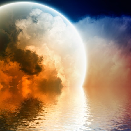 Fantastic glowing sphere in sky with reflection in water