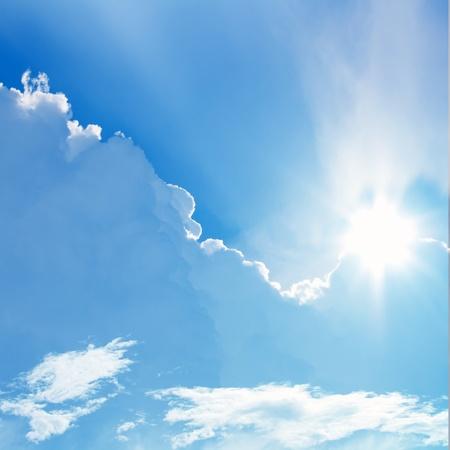 Sun in blue sky, perfect peaceful background