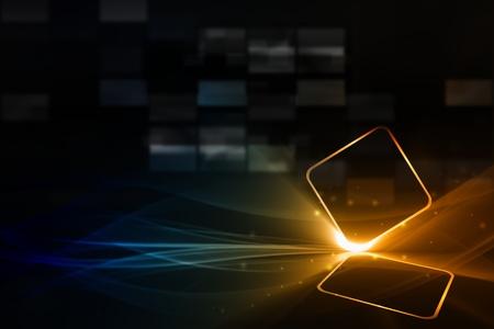 Foto de Technological background - abstract mobile device with transparent touch-sensitive screen  - Imagen libre de derechos