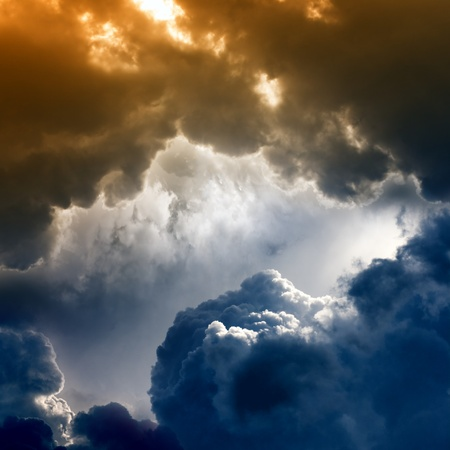 Dramatic background - dark sky, bright light from above
