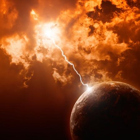 Big lightning hit planet Earth in dark red dramatic sky
