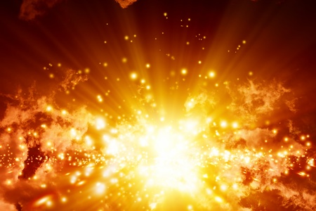 Fantastic abstract background- big explosion in sky