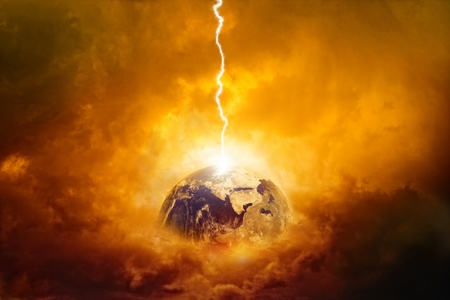 Scientific background - planet Earth in danger, struck by big lightning. Elements of this image furnished by NASA