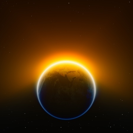 Global warming background - glowing planet Earth in space  Elements of this image furnished by NASA