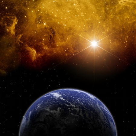 Abstract scientific background - planet Earth in space with stars  Elements of this image furnished by NASA