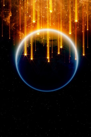 Abstract fantastic background - falling stars, planet earth in space, end of world