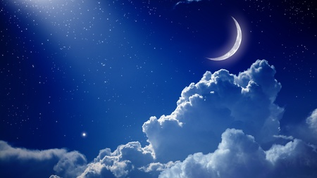 Peaceful background, blue night sky with moon, stars, beautiful clouds and bright spotlight from above