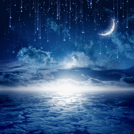 Photo for Peaceful background, blue night sky with moon, stars, beautiful clouds, glowing horizon. Elements of this image furnished by NASA - Royalty Free Image