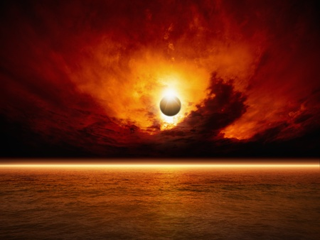 Dramatic apocalyptic background - sun eclipse, red sunset, dark sky, red sea, glowing horizon