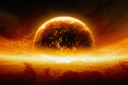 Abstract apocalyptic background - burning and exploding planet Earth in red sky, hell, end of world