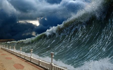 Apocalyptic dramatic background - giant tsunami waves, dark stormy sky