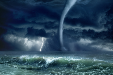 Nature force background - huge tornado, bright lightning in dark stormy sky, stormy sea, big waves