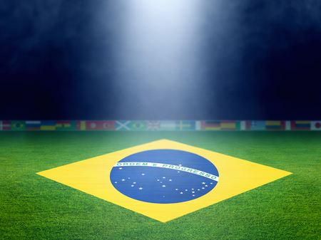 Soccer stadium at night, brazil flag on green soccer field, world soccer event