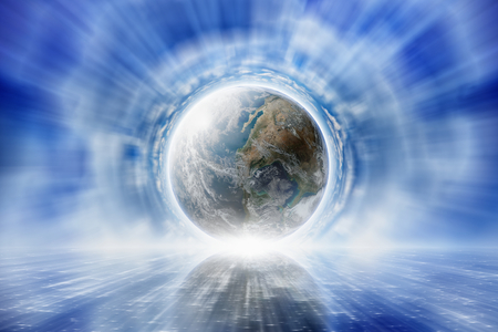 Photo pour Abstract peaceful background - planet Earth in blue sky, light shines from the planet.    - image libre de droit