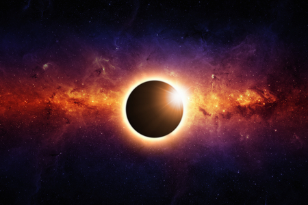 Abstract scientific background - full sun eclipse, red galaxy in space.