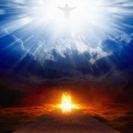Jesus Christ in blue sky with clouds, bright light from heaven, burning doorway in dark red sky, road to hell, way to hell, heaven and hell