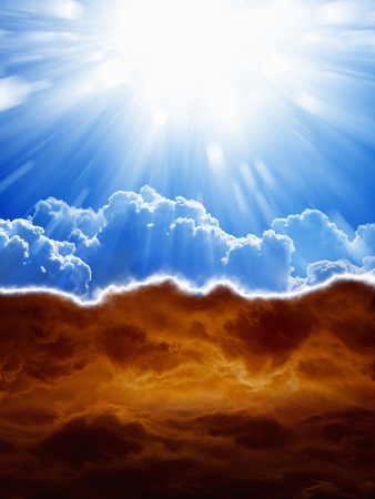 Photo for Religious background - blue sky with bright sun, dark red clouds, heaven and hell - Royalty Free Image