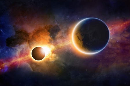 Abstract scientific background - glowing planet Earth in space, solar eclipse, nebula and stars. Elements of this image furnished by NASA nasa.gov