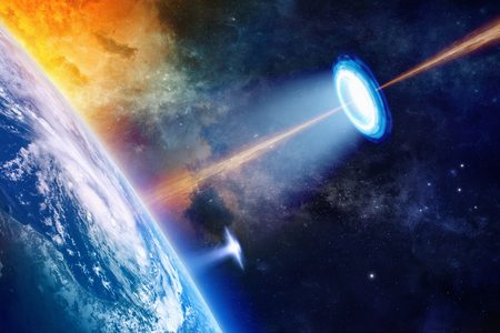 Photo for Fantastic background - UFO shines spotlight on planet Earth, secret experiment, climate change, climatic weapon. Elements of this image furnished by NASA nasa.gov - Royalty Free Image