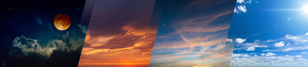 Foto de Times of day collage: sunny day, dark night, red sunset and sunrise. Opposites in nature: light and darkness, sun and moon. Elements of this image furnished by NASA - Imagen libre de derechos
