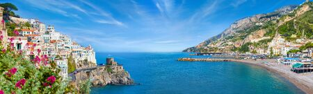 Photo pour Panoramic collage of Amalfi in province of Salerno, region of Campania, Italy. Amalfi coast is popular travel and holyday destination in Europe. - image libre de droit