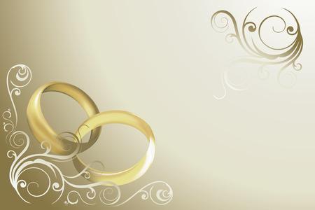 Foto de wedding card with rings and swirles vector - Imagen libre de derechos