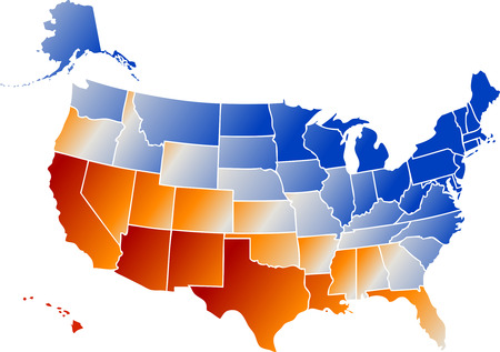 Vector clip art map of United States of America USA, with ...